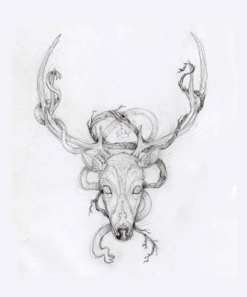 Deer skull tattoo drawing