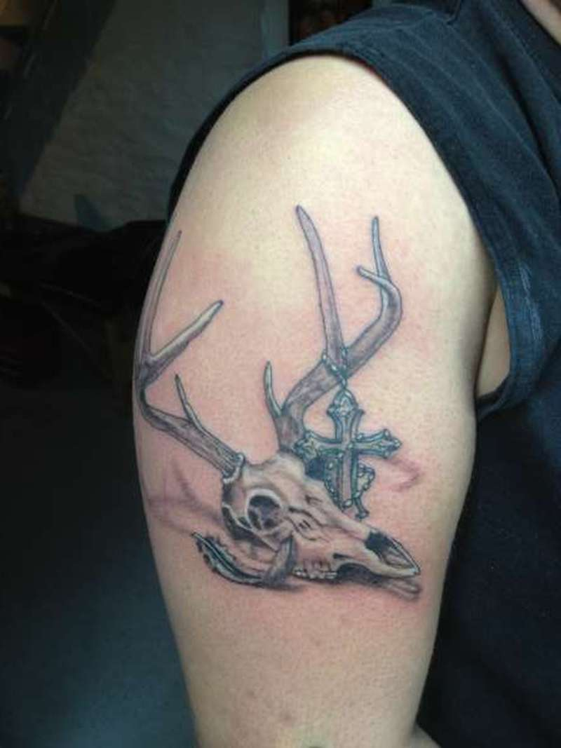 deer skull tattoo on biceps tattoos book tattoos designs. Black Bedroom Furniture Sets. Home Design Ideas