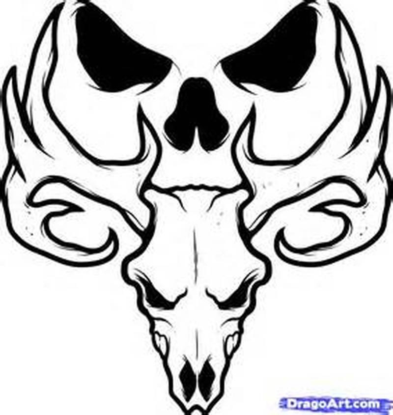 Deer skull tattoo sample