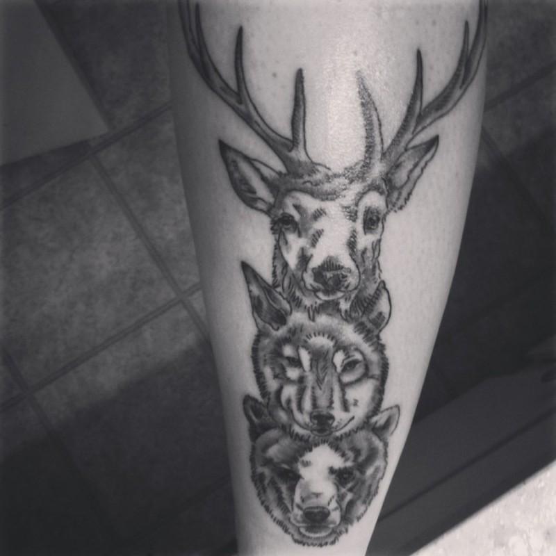 Deer wolf bear tattoo design