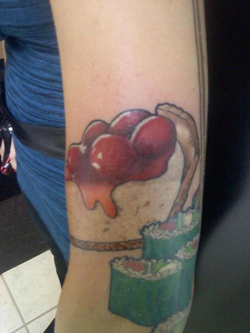 Delicious cake design tattoo