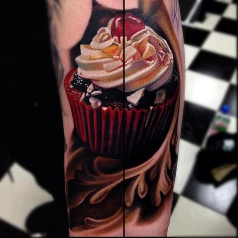 Delicious cup cake tattoo design