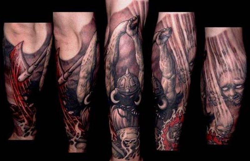 Demon horror sleeve tattoo design