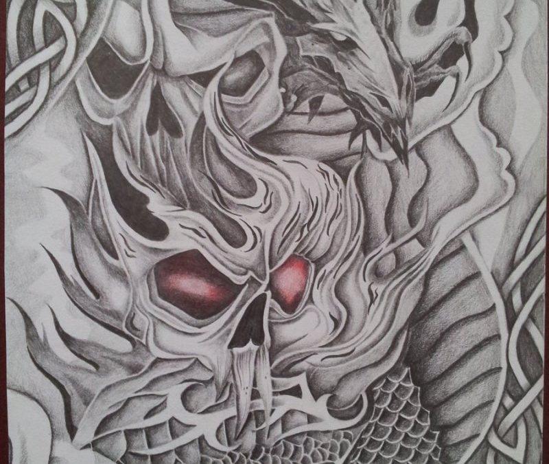 Demon skull dragon tattoo design