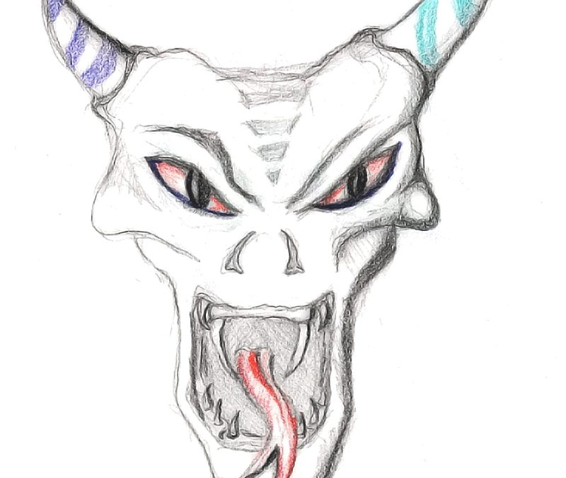 Demon skull tattoo design