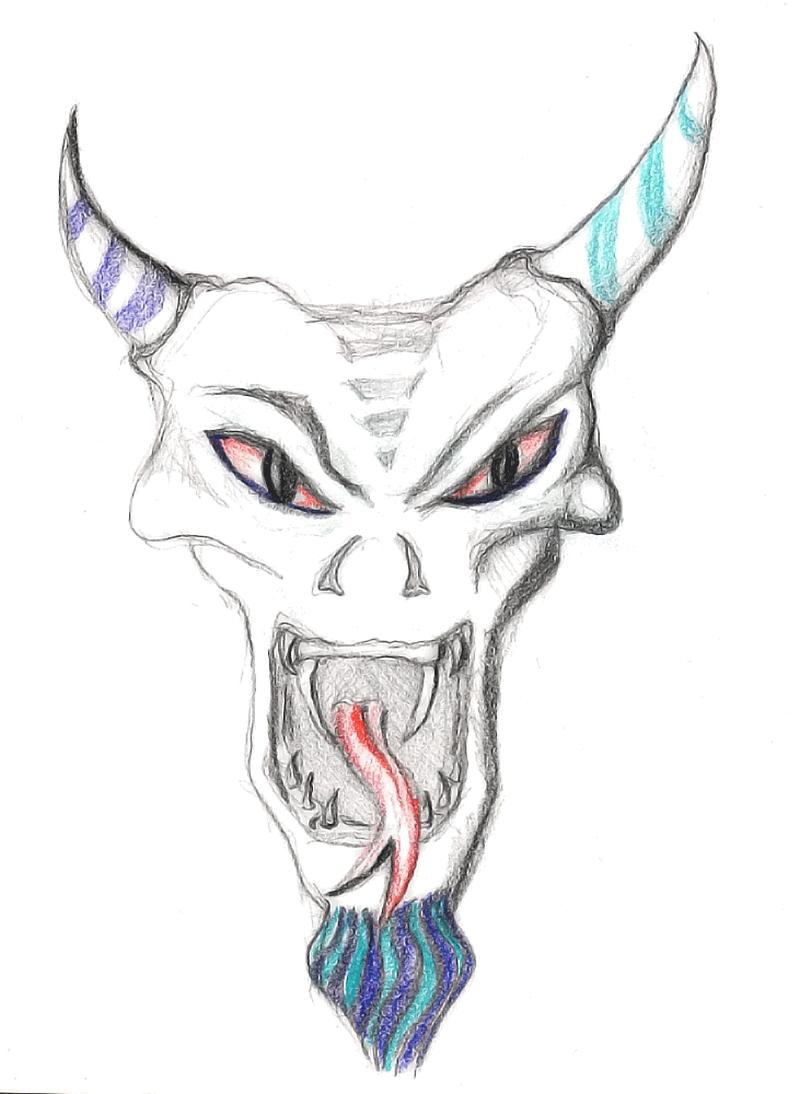 Demon skull tattoo design