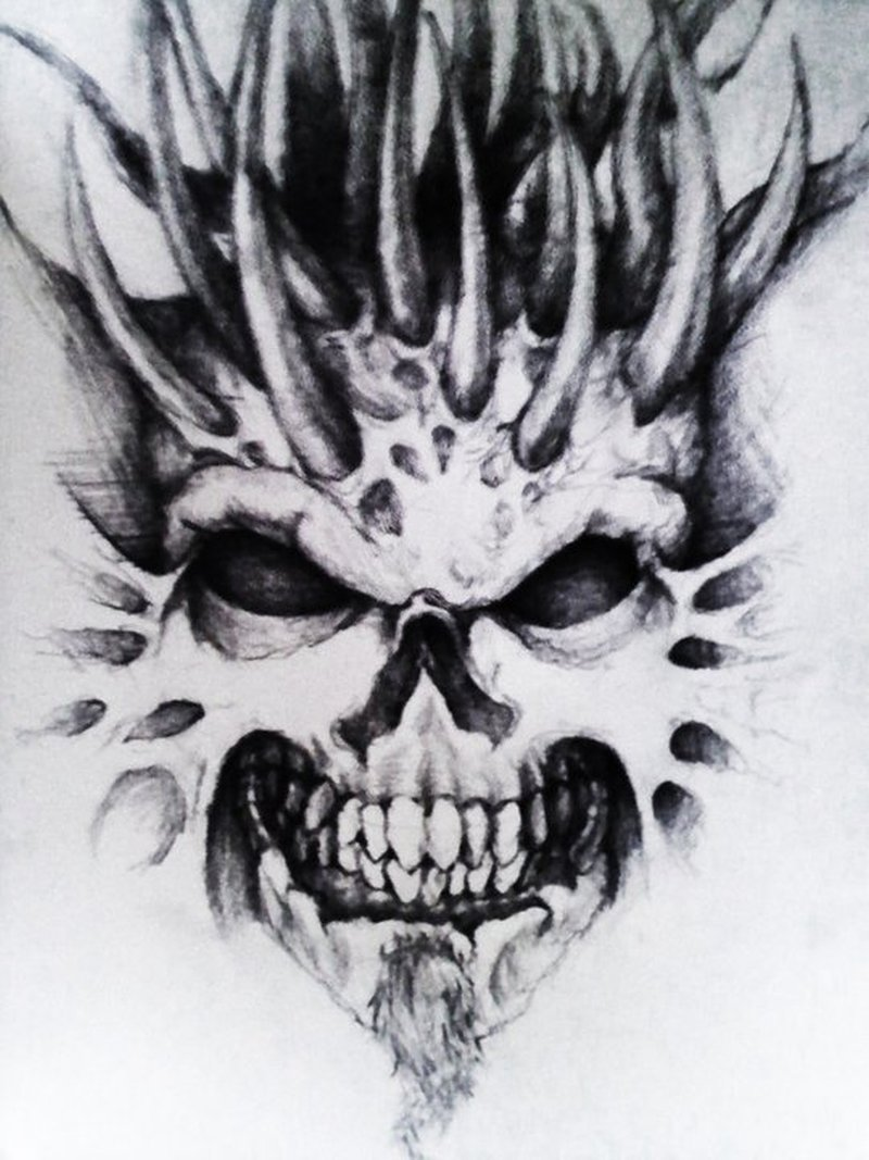 Demon skull tattoo sample