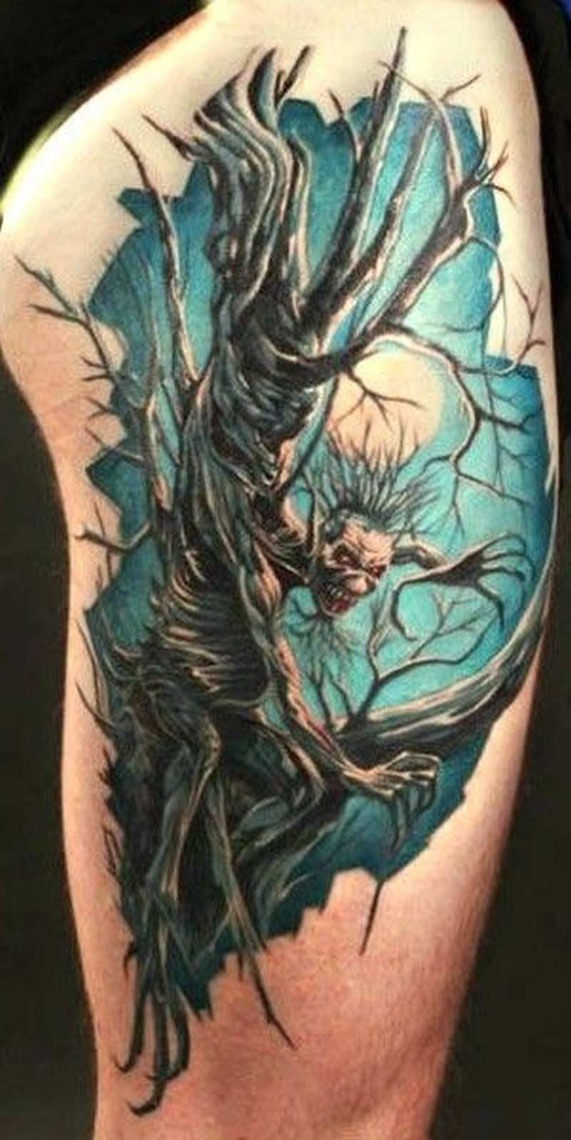 Demon tree in a full moon tattoo on half sleeve tattoos for Demon half sleeve tattoos