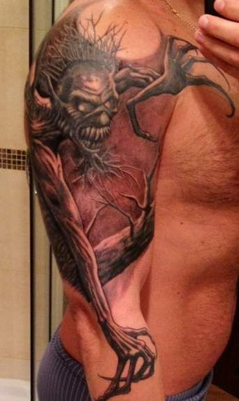 ff699e8a6 Demon with long arms tattoo on half sleeve - Tattoos Book - 65.000 ...
