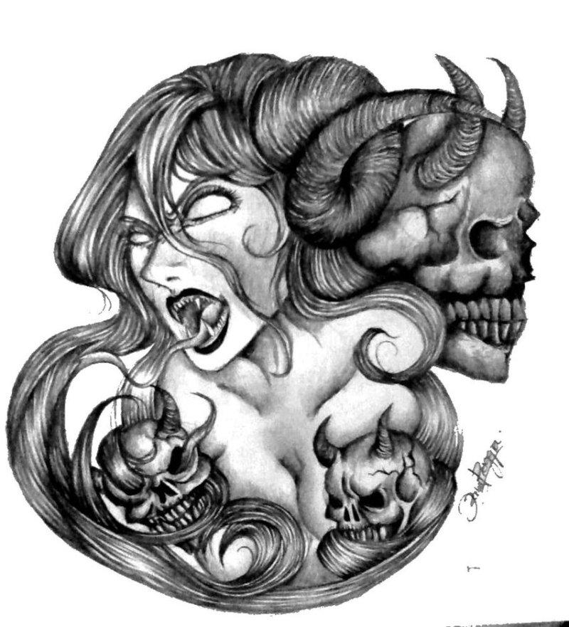 Demon woman tattoo design
