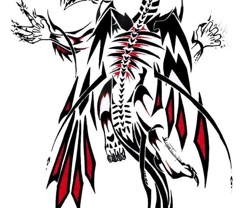 Demonic dragon tattoo design