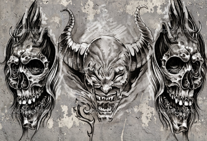 743acd369 Demons tattoo designs over grey background - Tattoos Book - 65.000 ...