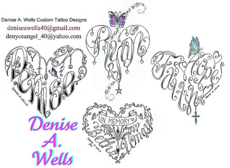 Denise a wells heart tattoo designs