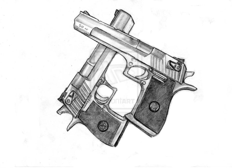 Desert eagle gun tattoo sample 2