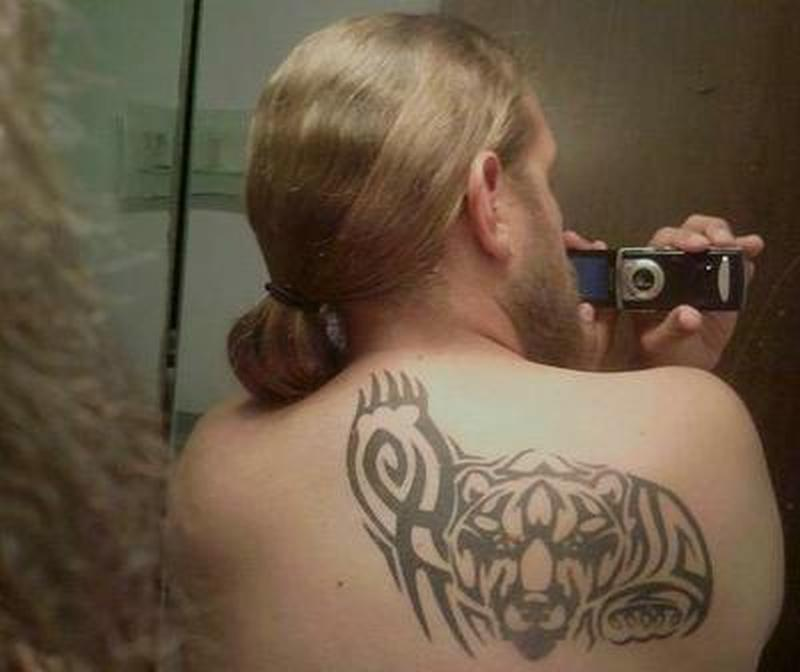 Designer grizzly bear tattoo