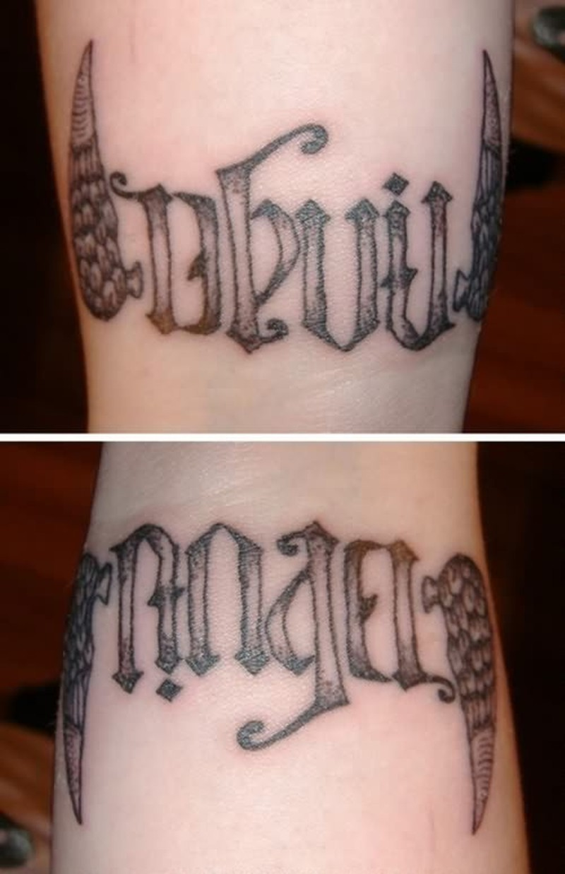 Devil angel ambigram tattoo