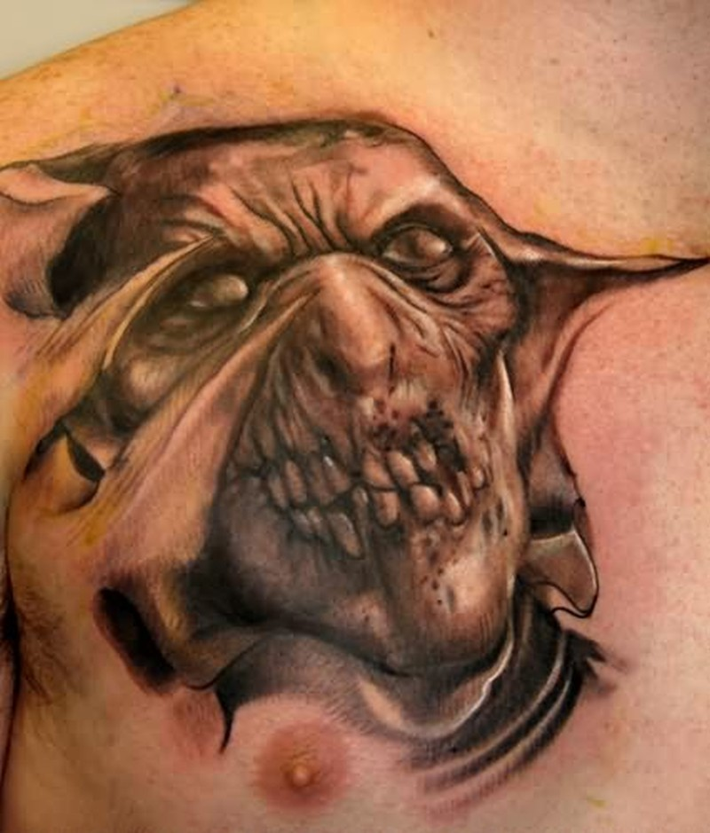 Devil dead tattoo on chest for men tattoos book for Baby s first tattoo book