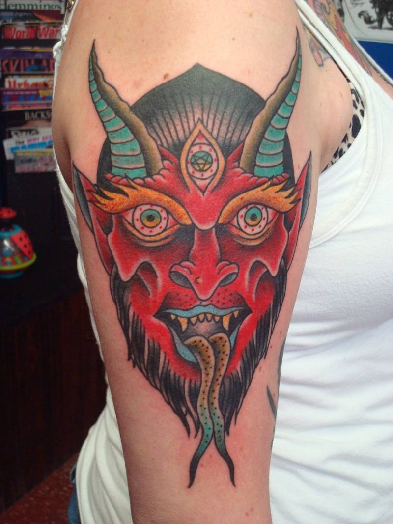 Devil face tattoo design on shoulder 2