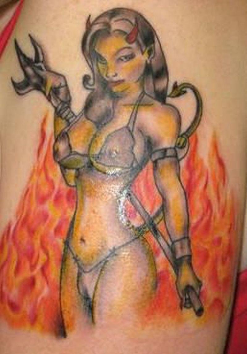 Devil girl n fire tattoo design
