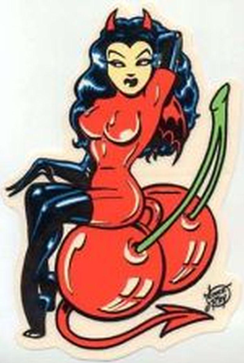 Devil girl on cherries tattoo design