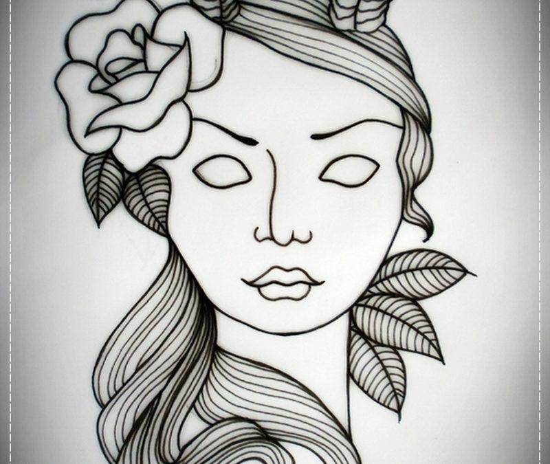 Devil girl tattoo flash