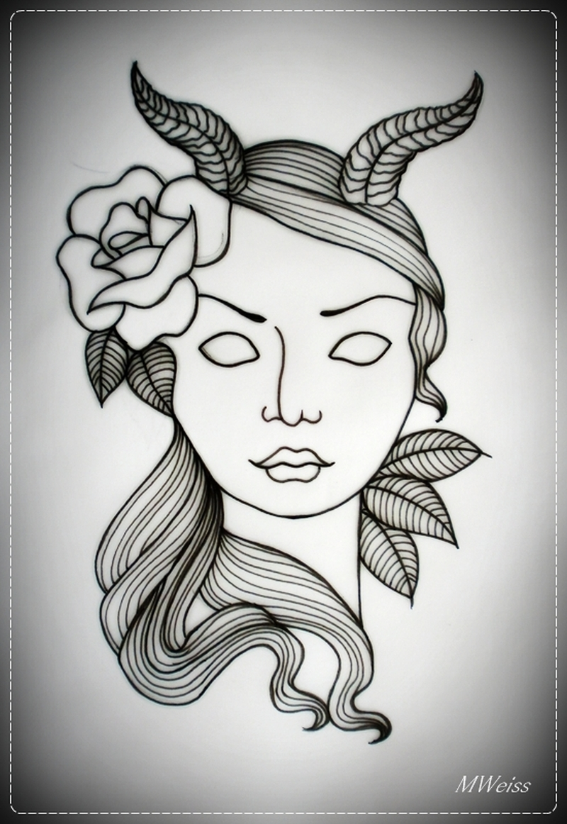 Devil girl tattoo flash