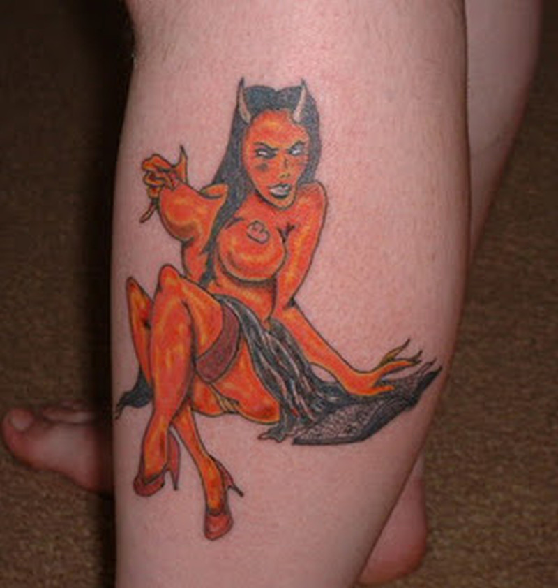 Devil girl tattoo on leg 2