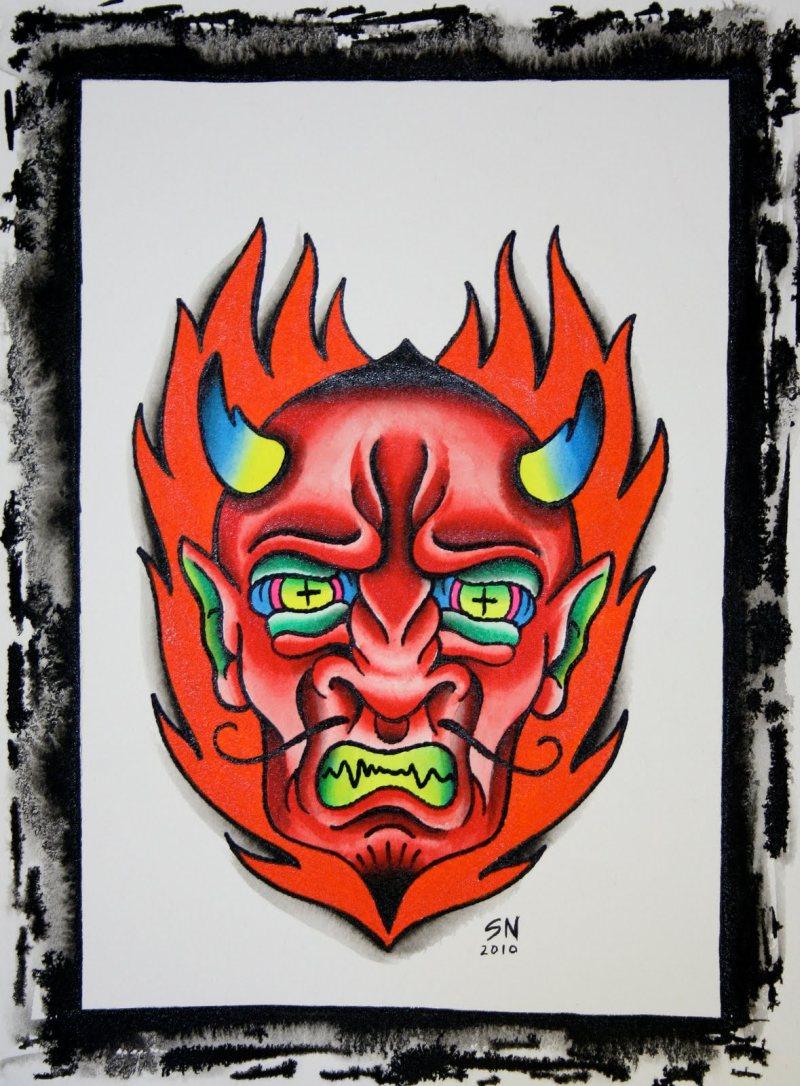 Devil head tattoo image