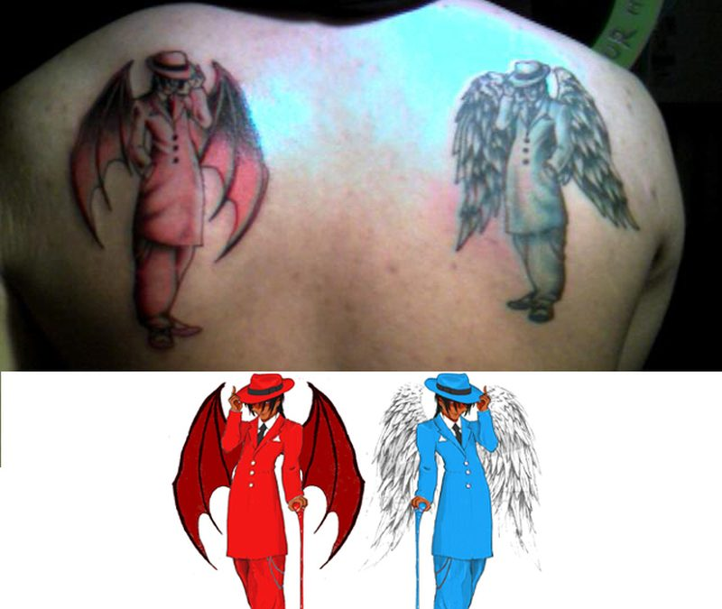 Devil n angel guys tattoo designs