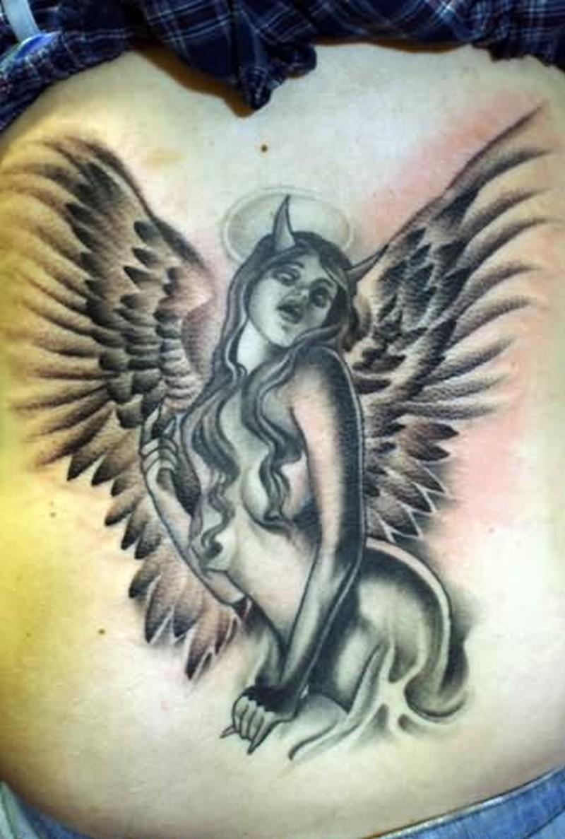 Devil winged angel tattoo design