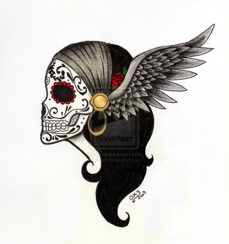 Dia de los muertos angel tattoo design