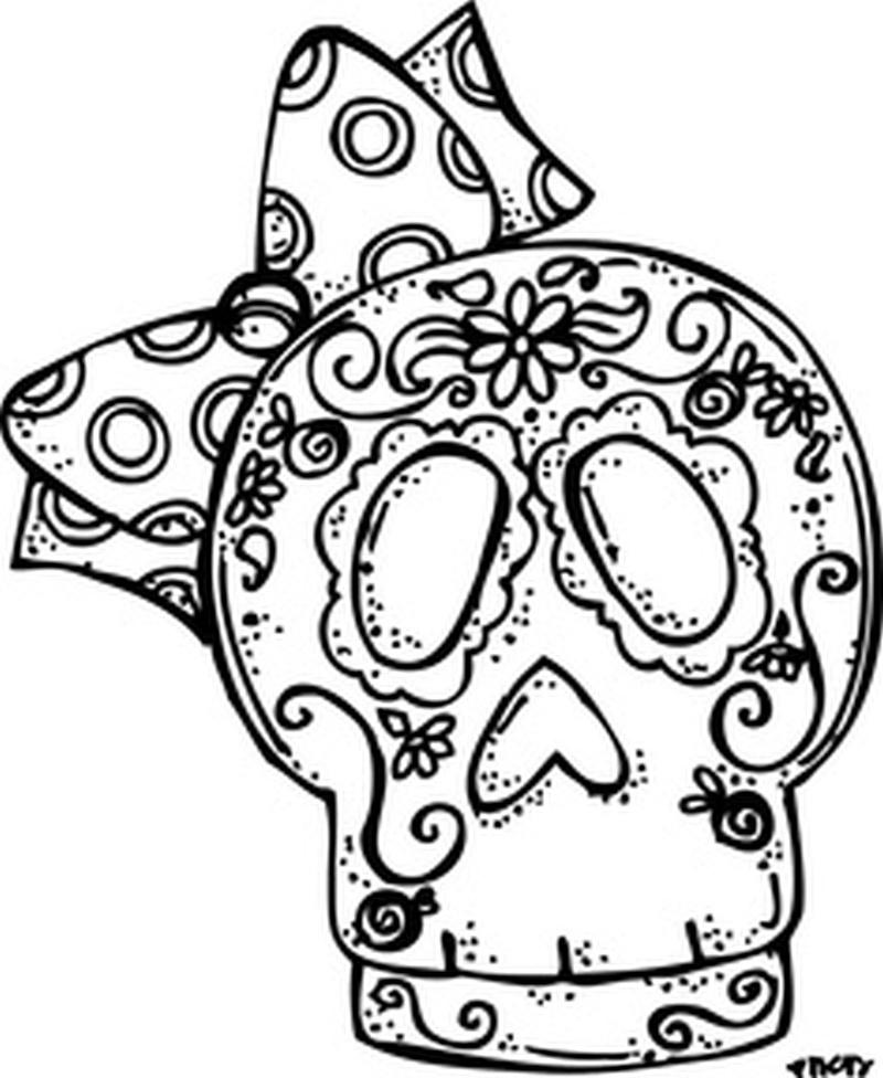 Dia de los muertos bow skull tattoo sample