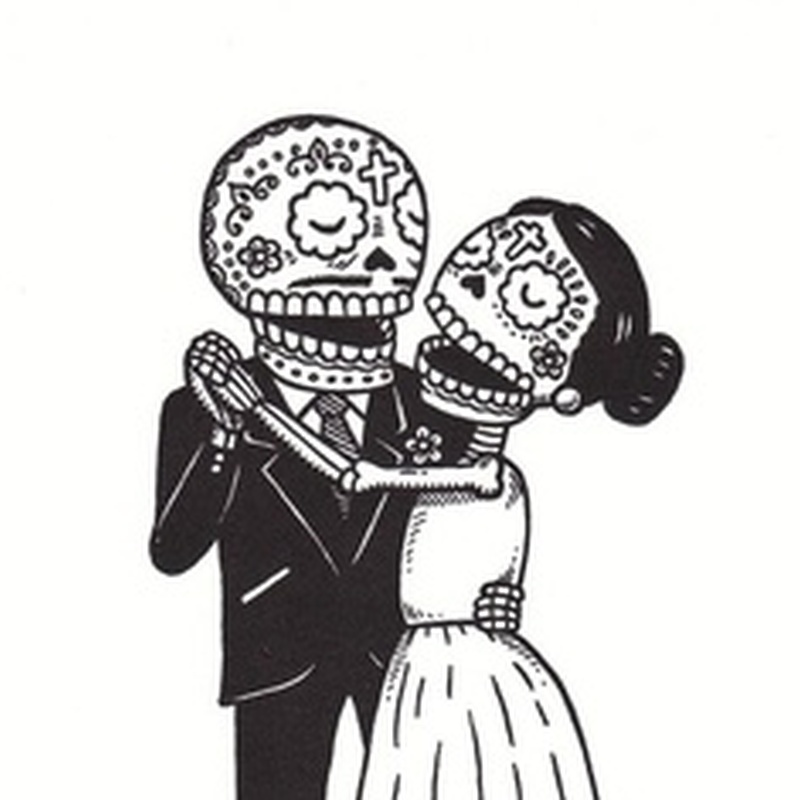Dia de los muertos couple tattoo design