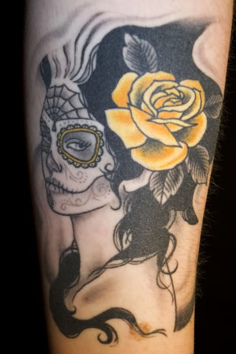Dia de los muertos flower girl tattoo design 2