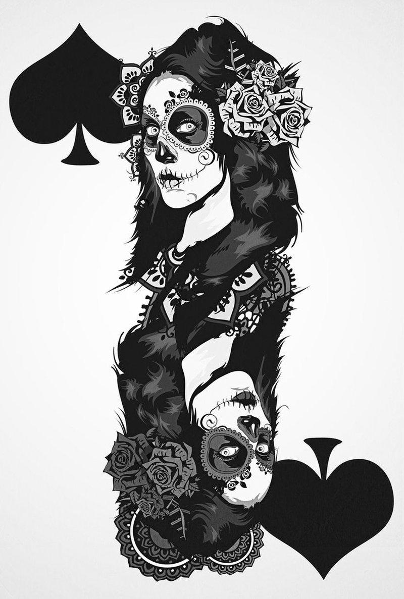 Dia de los muertos gambling tattoo design