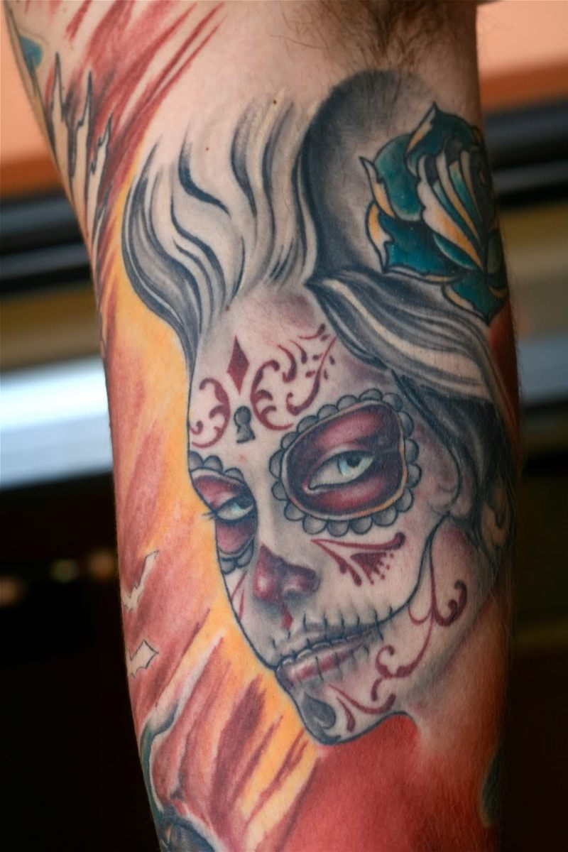 93cf8ae5f Dia de los muertos girl face tattoo design - Tattoos Book - 65.000 ...