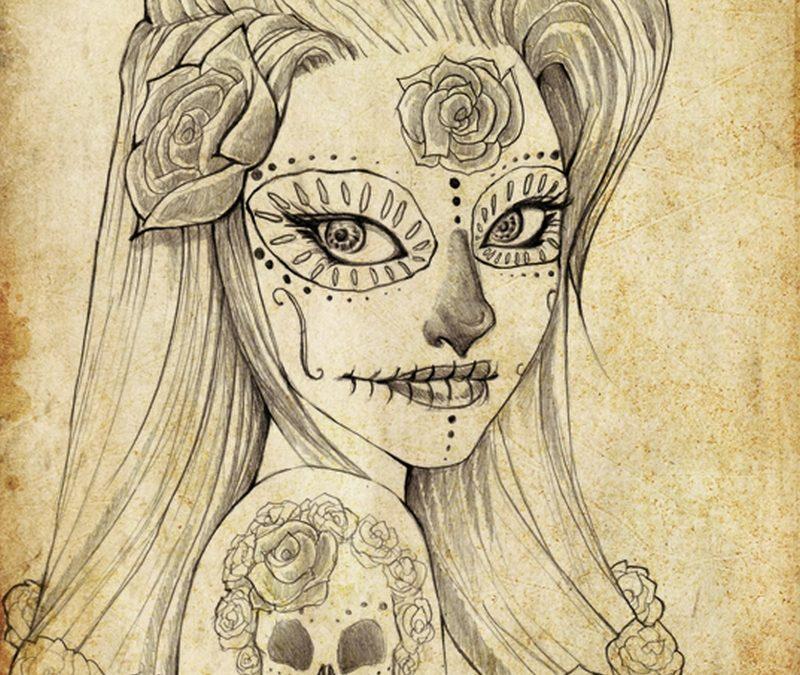 Dia de los muertos girl sketch tattoo