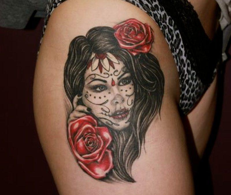 Dia de los muertos girl tattoo on right leg