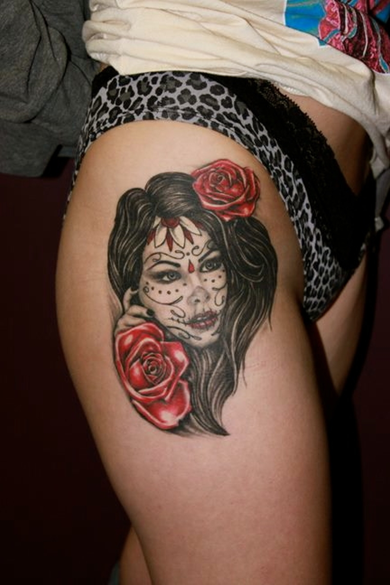Dia de los muertos girl tattoo on right leg
