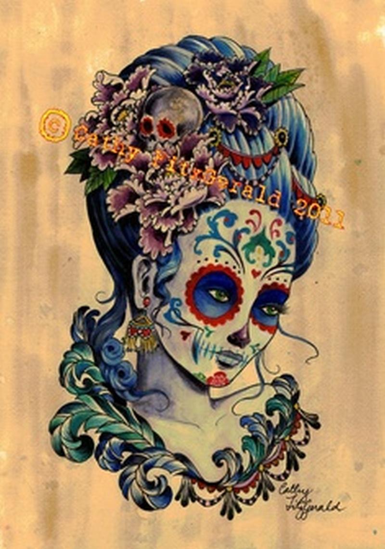 Dia de los muertos girl tattoo poster