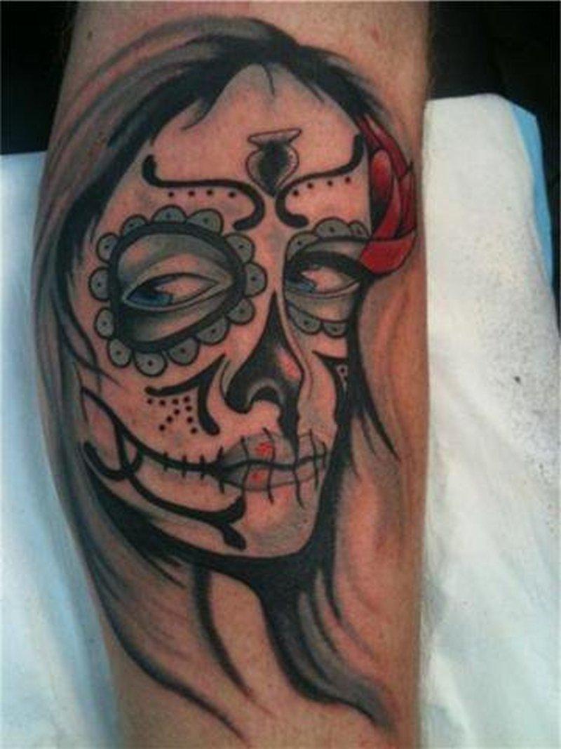 Dia de los muertos girly sugar skull tattoo design