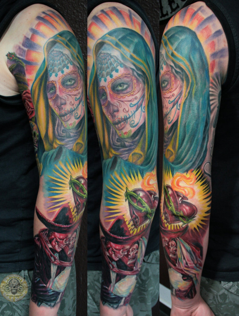 Dia de los muertos heart tattoo design on sleeve