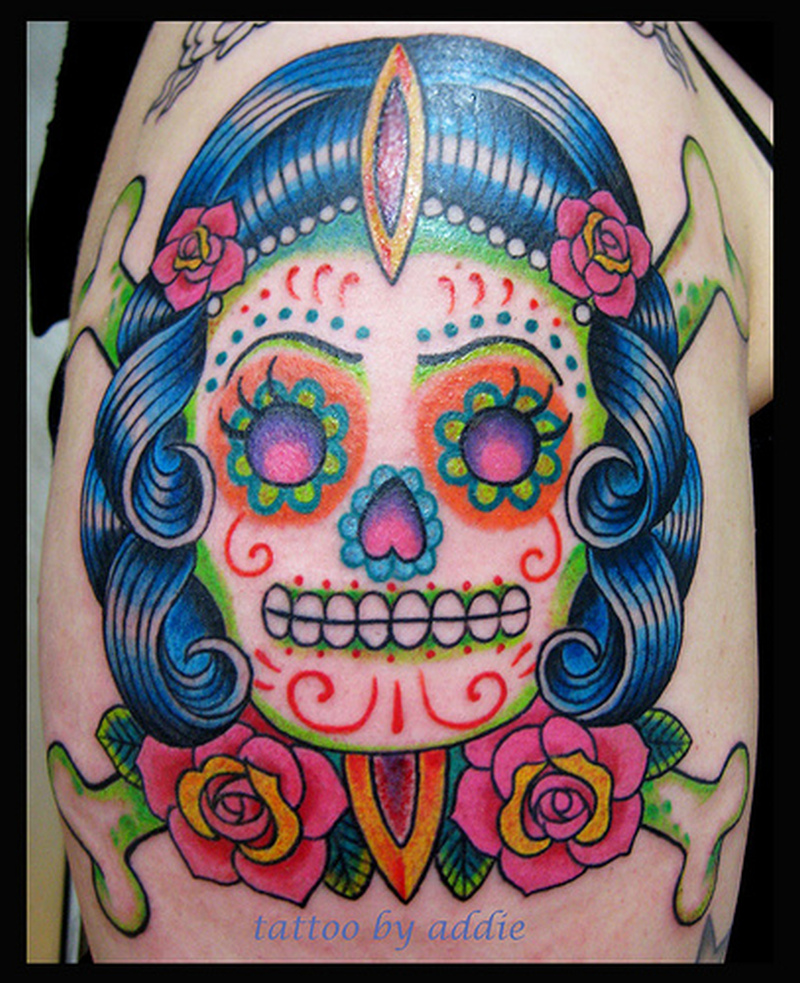 Dia de los muertos lady skull tattoo on shoulder