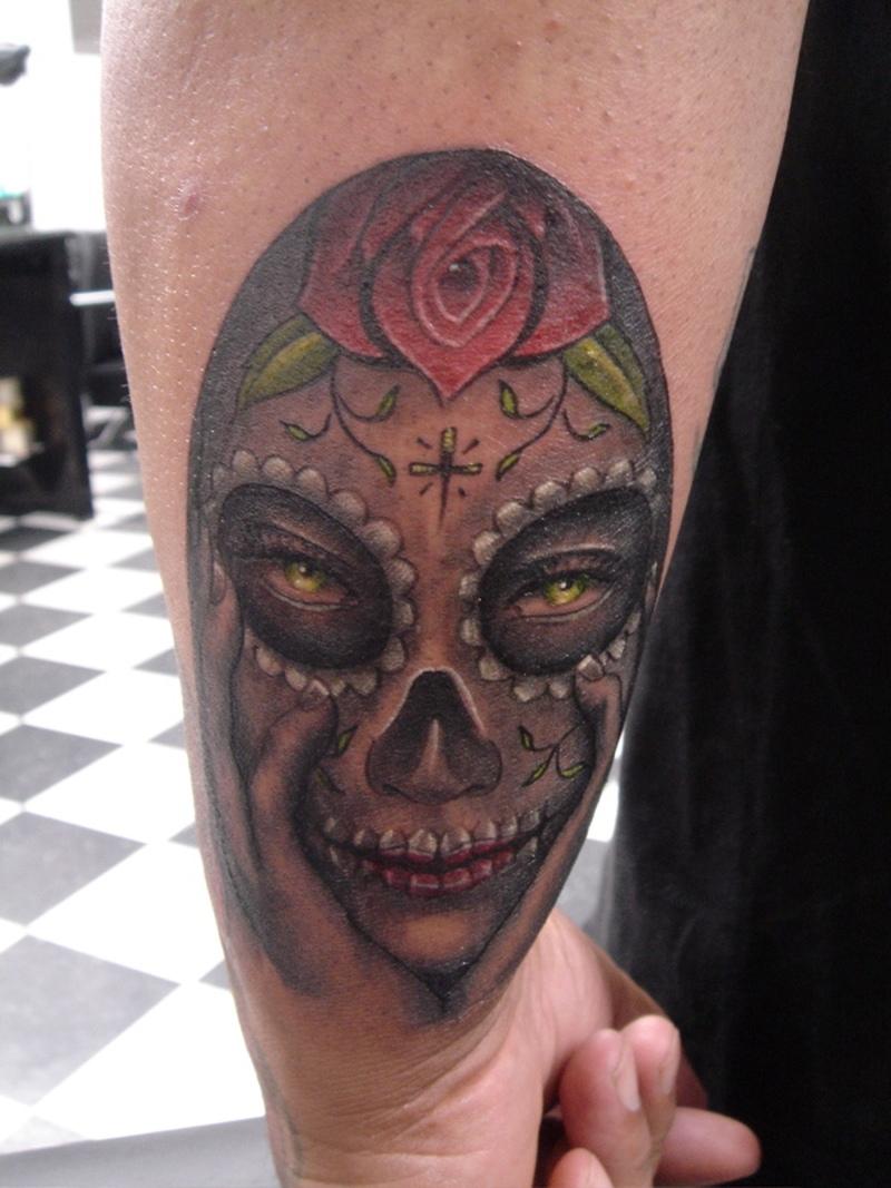 Dia de los muertos lady skull tattoo on wrist