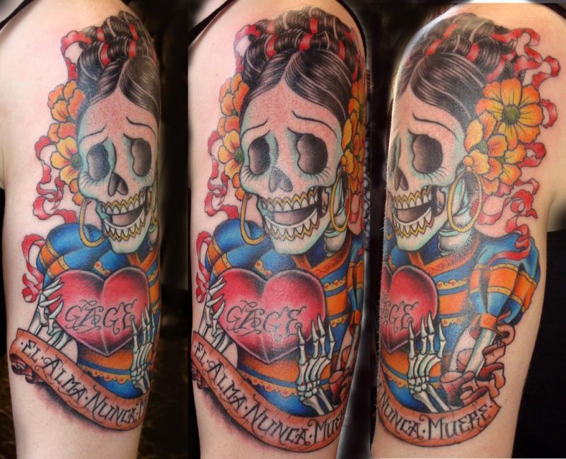 Dia de los muertos lady skull with heart tattoo design