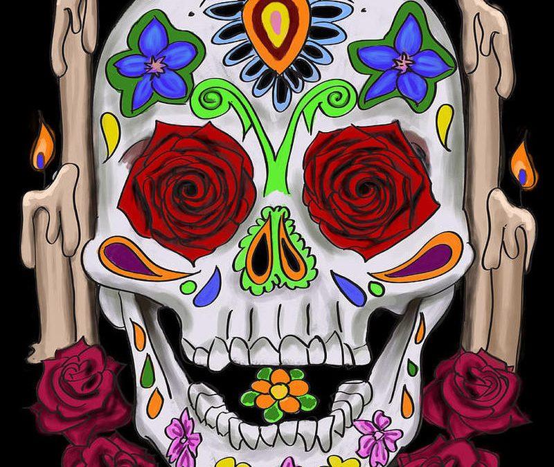 Dia de los muertos skull n candles tattoo design