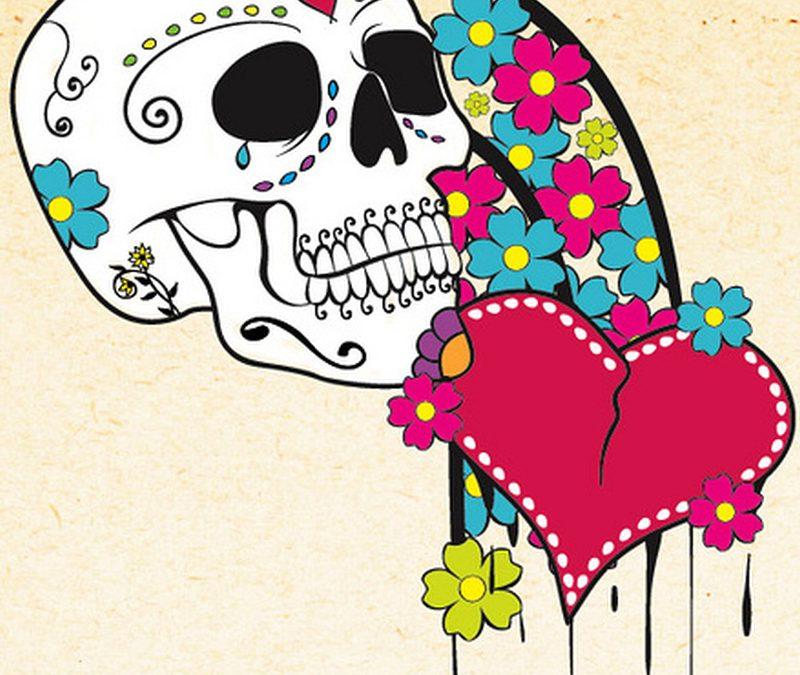 Dia de los muertos skull n heart tattoo design