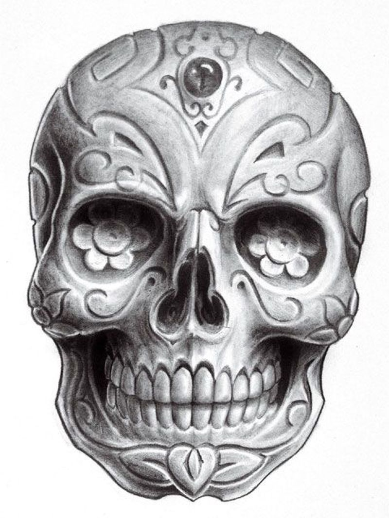 Dia de los muertos skull tattoo design 2