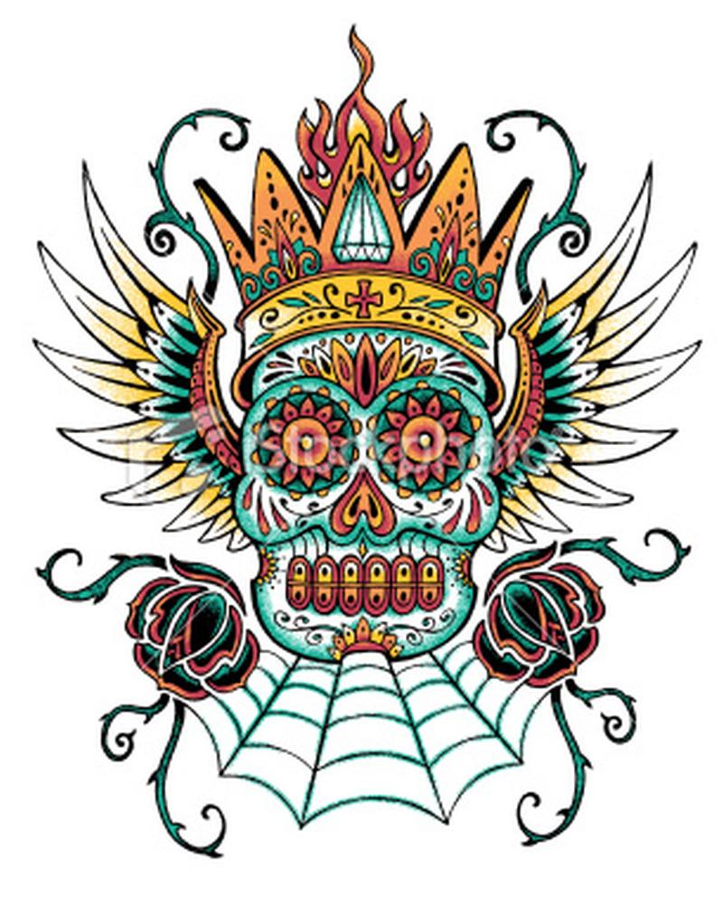 Dia de los muertos skull tattoo design 3