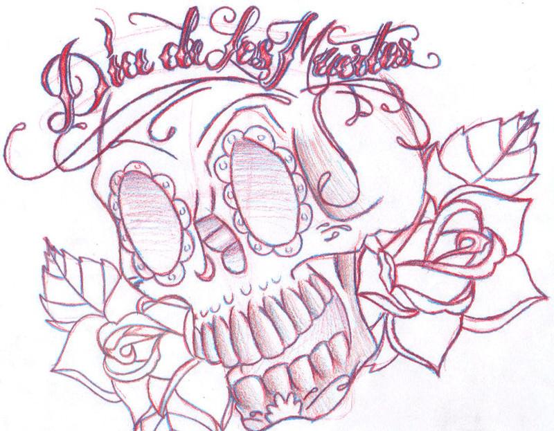 Dia de los muertos skull tattoo drawing